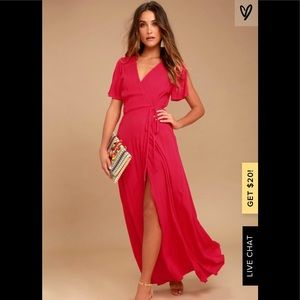 Lulus Much Obliged Red Wrap Maxi Dress